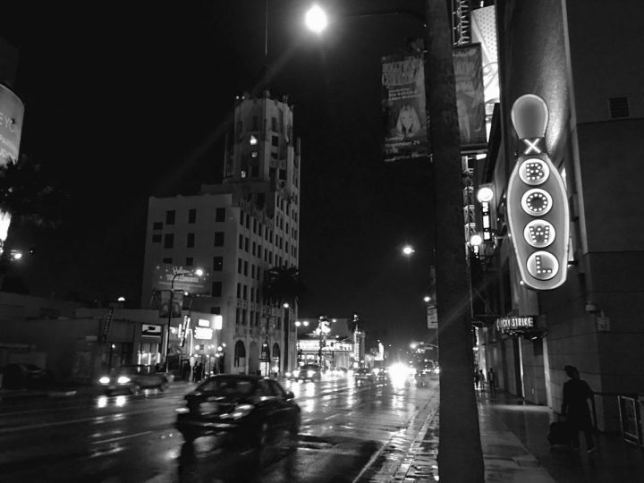 A rainy night in Hollywood.